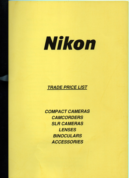Trade price list 1st may 1992
